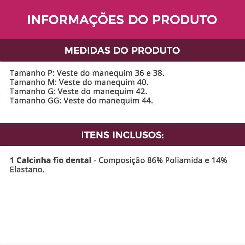 Calcinha Fio Dental em Microfibra e Renda Preto, Lilás ou Vermelha - DR191