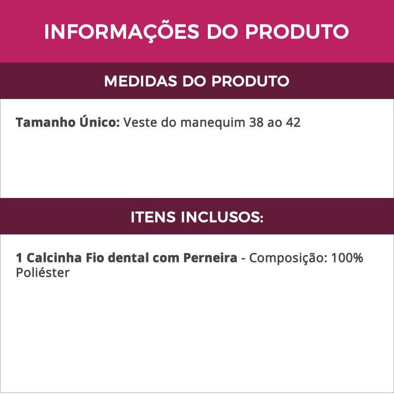Calcinha Fio Dental Noiva Branca com Perneira - VT560