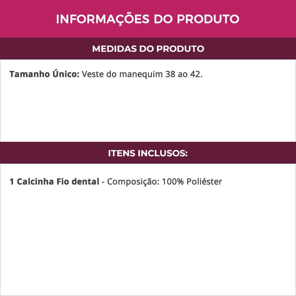 Calcinha Fio Dental Oncinha Aberta na Frente - VT769
