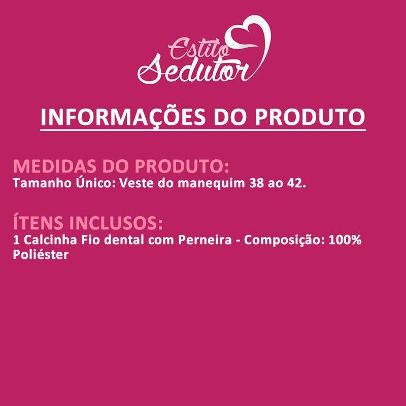 Calcinha Fio Dental Preta com Perneira - VT562