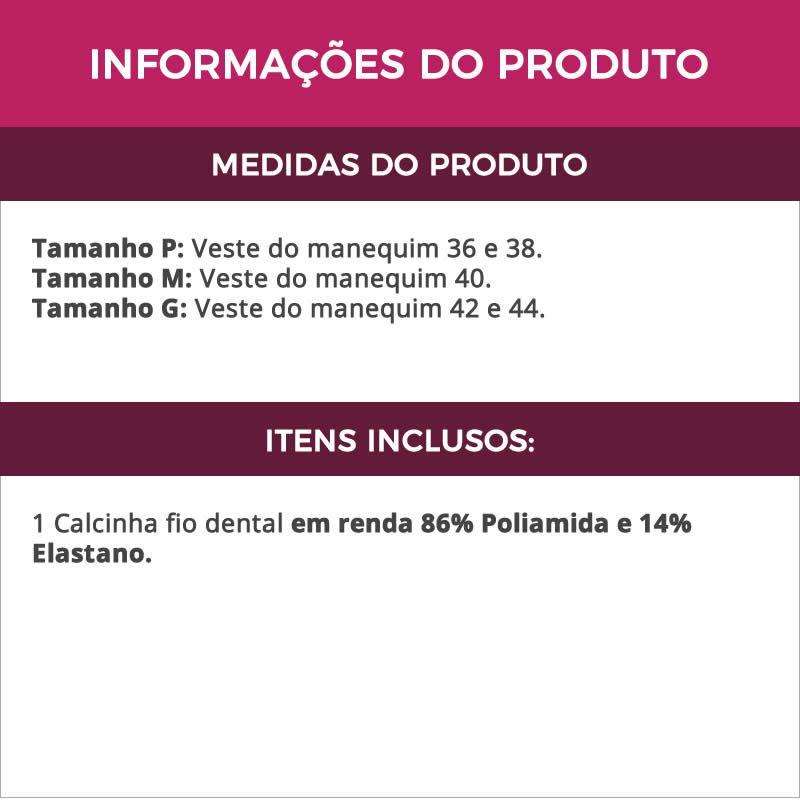 Calcinha Fio Dental Preta em Renda e Tule - DR183