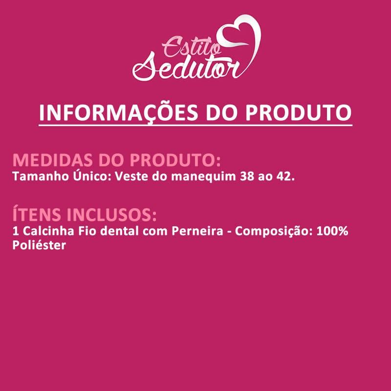 Calcinha Fio Dental Secretária com Perneira - VT535