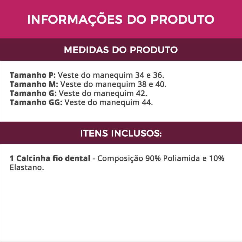 Calcinha Fio Dental Transparente de Renda 3 Tiras - VF31