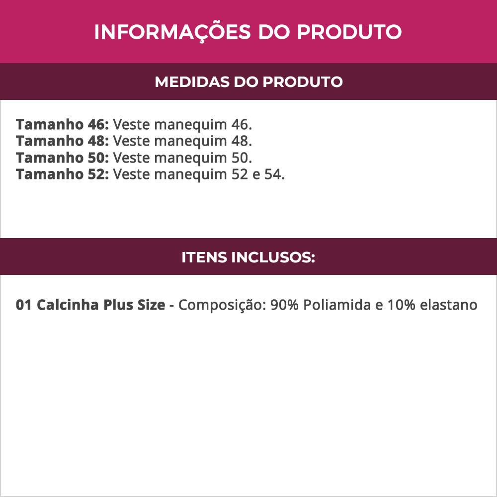 Calcinha Plus Size Cintura Alta em Microfibra Bege ou Preto - TV5036