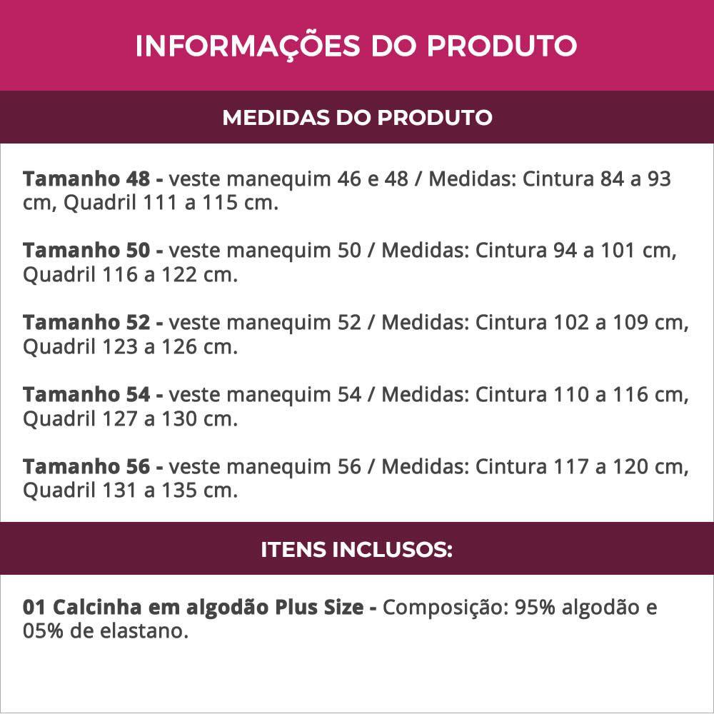 Calcinha Plus Size em Algodão Cós Alto - PL262-PL261
