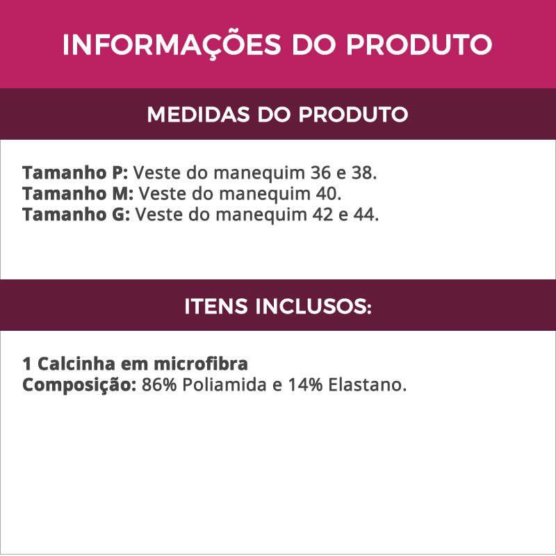 Calcinha Preta em Microfibra e Renda - DR180
