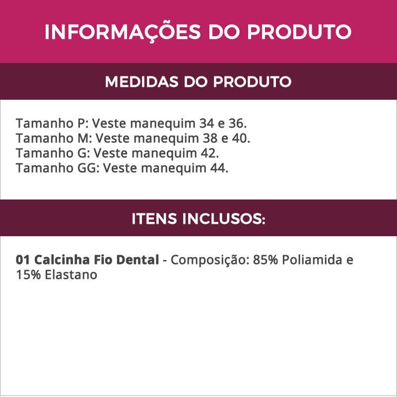 Calcinha Preta Fio Dental Corte a Laser em Microfibra - ME10025