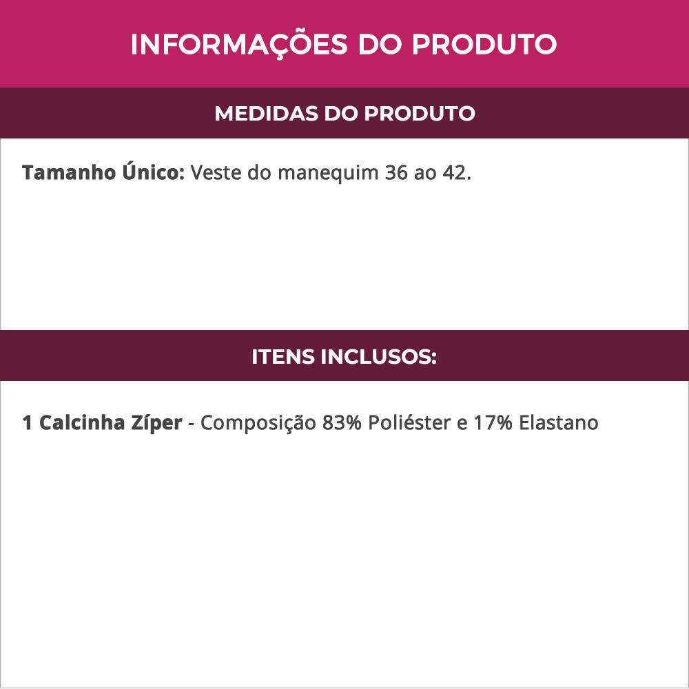 Calcinha Zíper Fio dental em Renda - DY200039