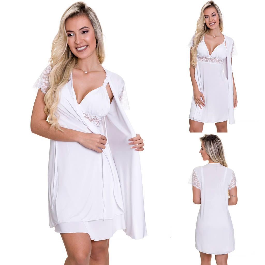 Camisola Amamentação Com Robe em Microfibra Branca - ES206-207