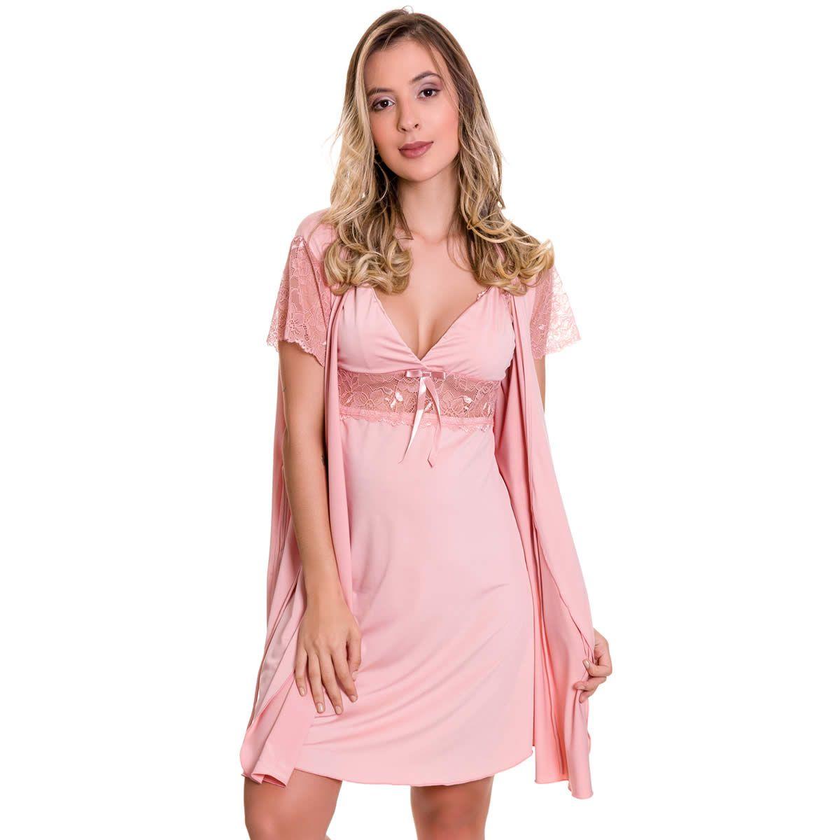 Camisola Amamentação Com Robe em Microfibra e Renda Rosa Lilás ou Azul Marinho - ES206-207
