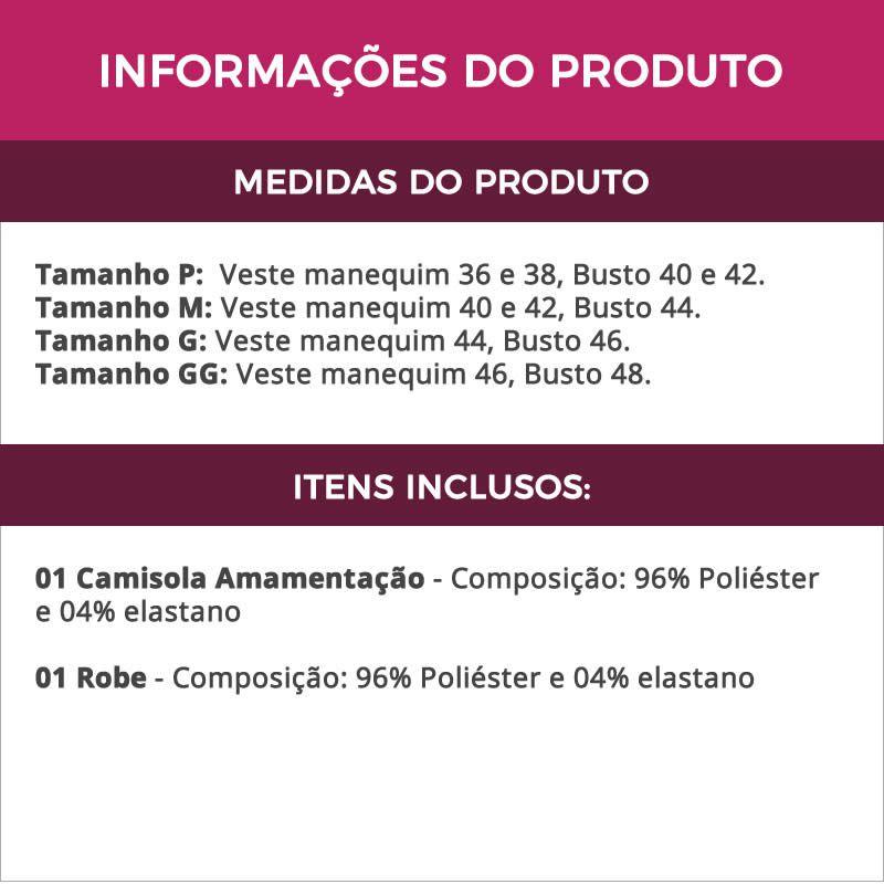 Camisola Amamentação Com Robe em Microfibra Preta - ES206-207