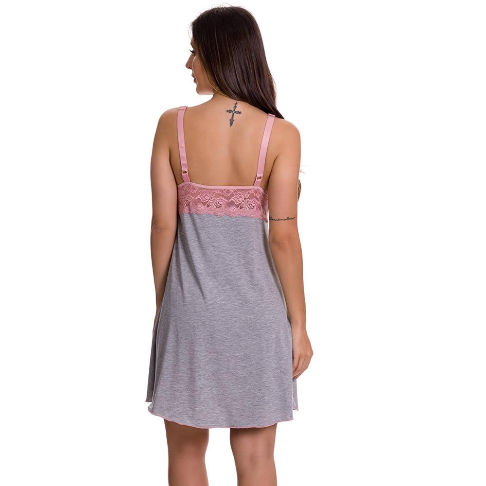 Camisola Amamentação Com Robe em Viscolycra e Renda - ES220-221