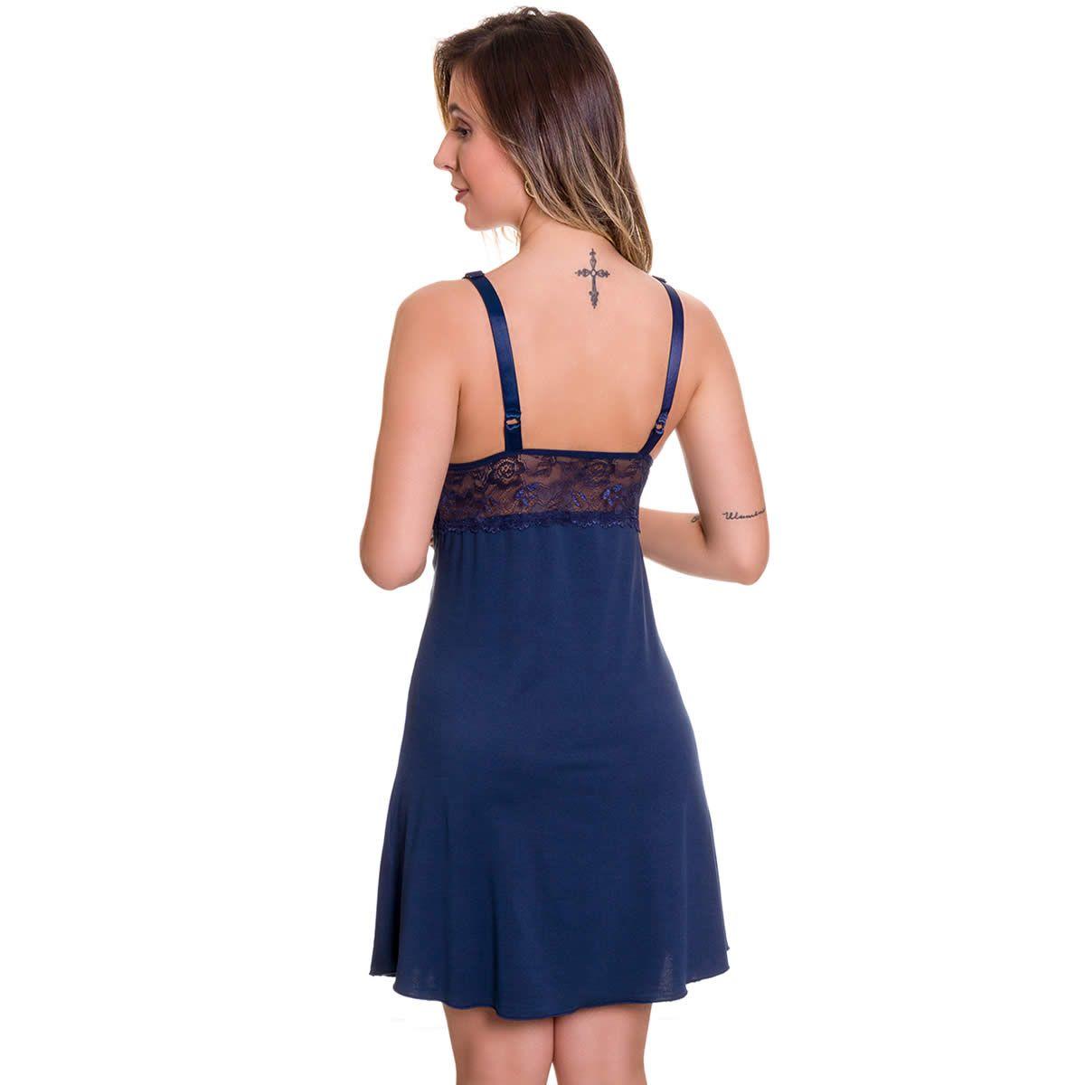Camisola Amamentação em Microfibra e Renda Rosa Lilás ou Azul Marinho - ES206