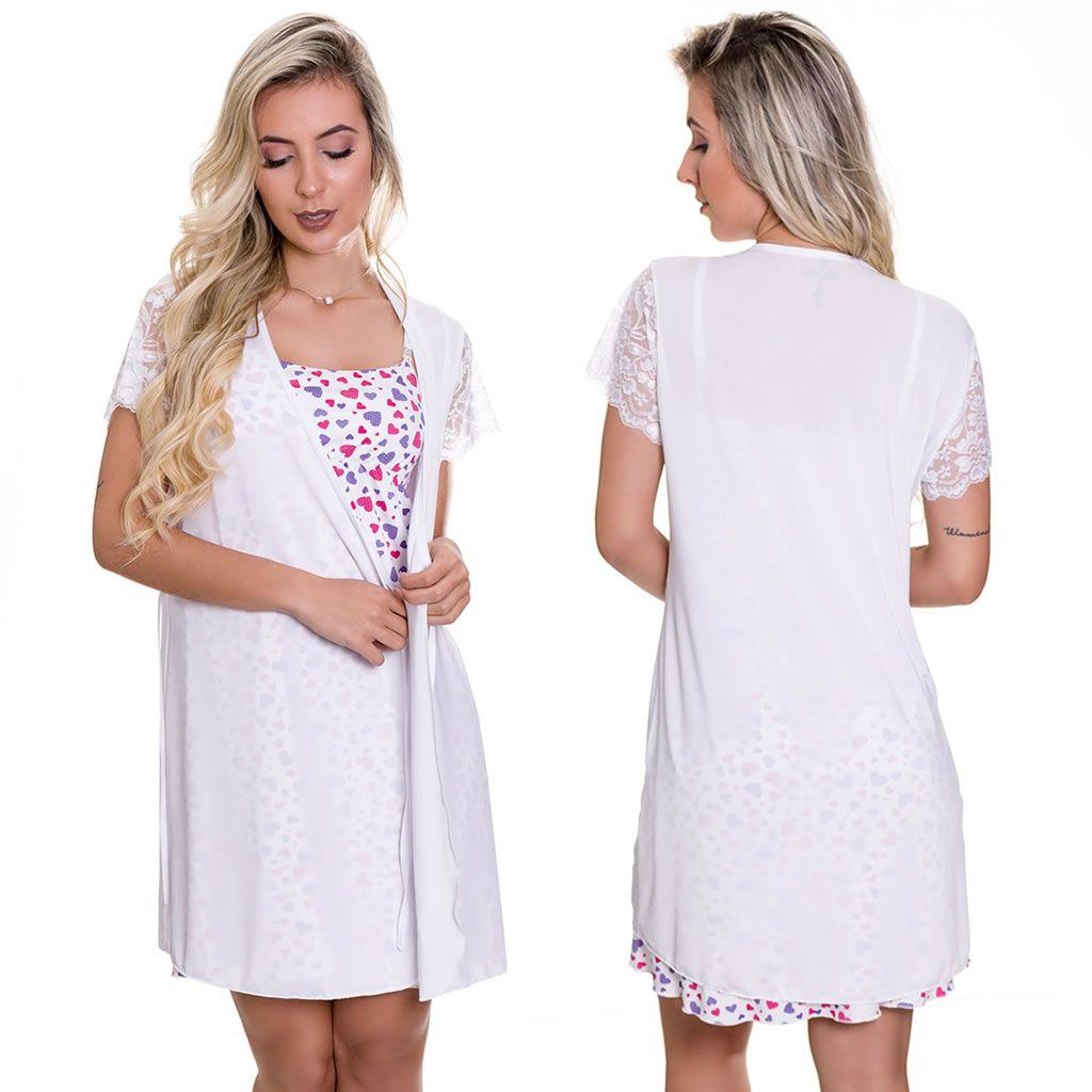 Camisola Amamentação Estampada Com Robe Branco - GL349-ES207
