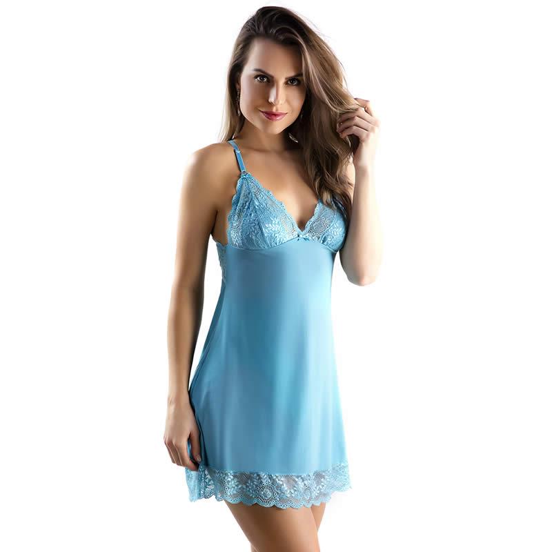 Camisola Azul em Microfibra e Renda com Calcinha Veronica - TV4231