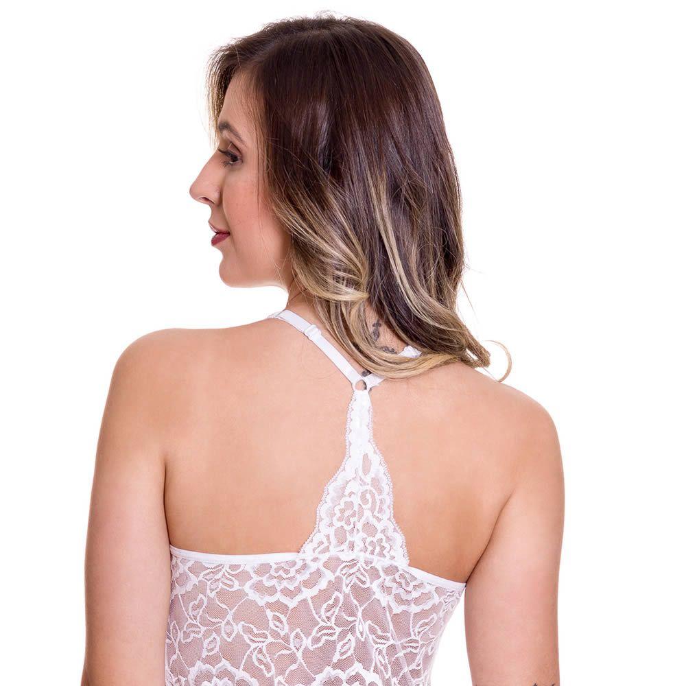 Camisola Branca em Microfibra e Renda Marcelle - ES204