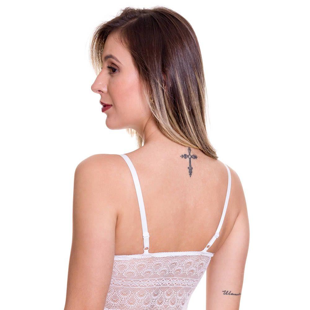 Camisola Branca Transparente em Renda e Tule com Bojo Olivia - MS1419