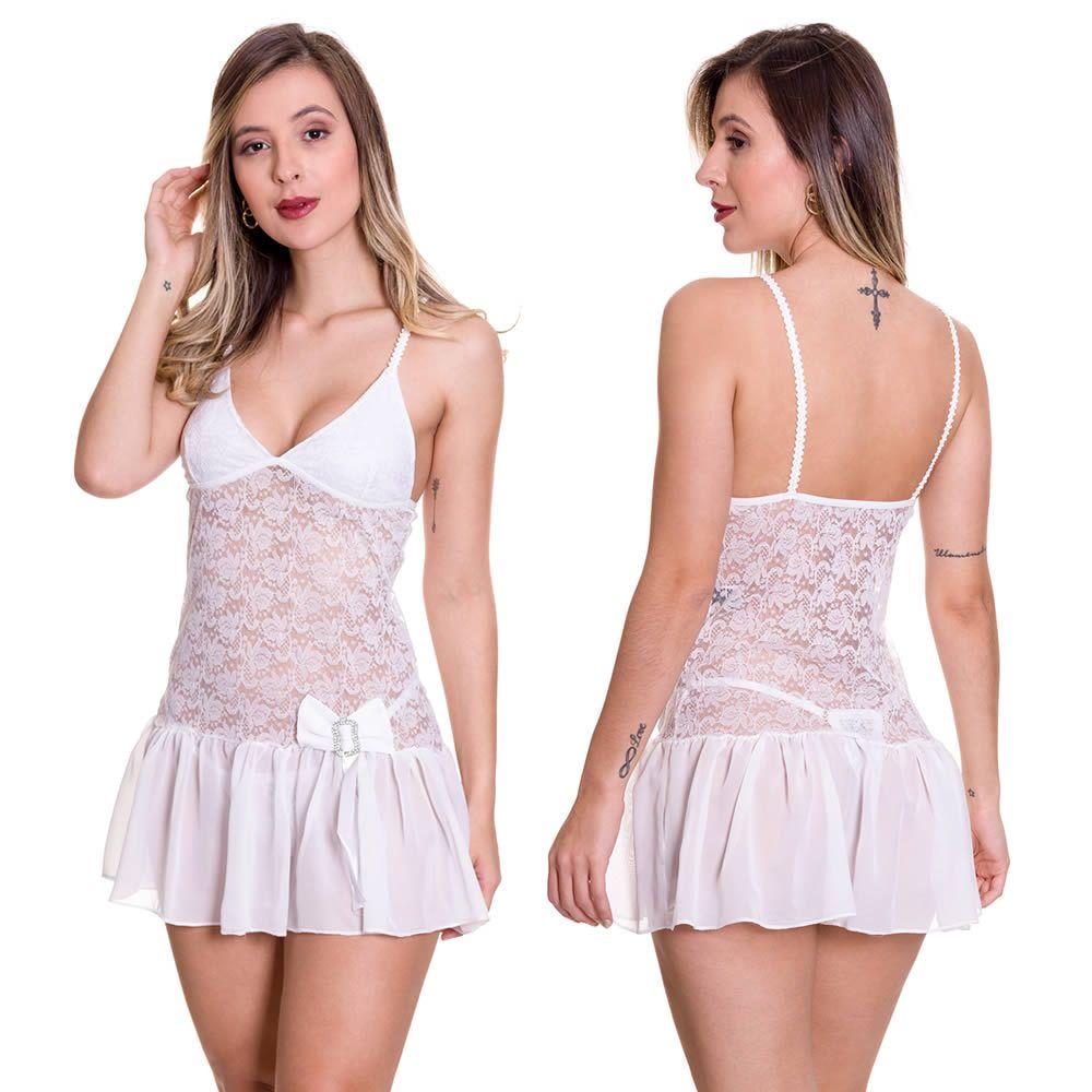 Camisola Branca Transparente em Tule e Renda com Calcinha Marquezine - EK5024