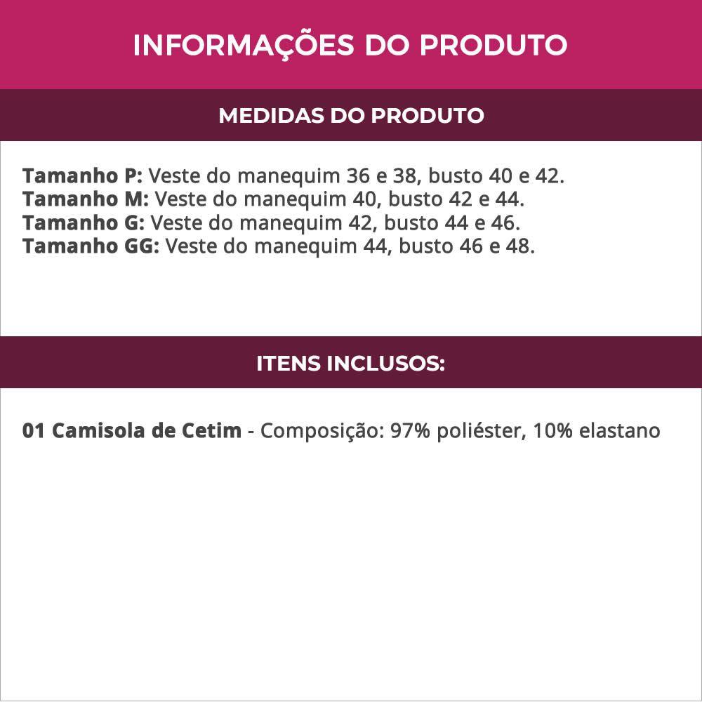 Camisola em Cetim e Renda Sem Bojo - YMLB01