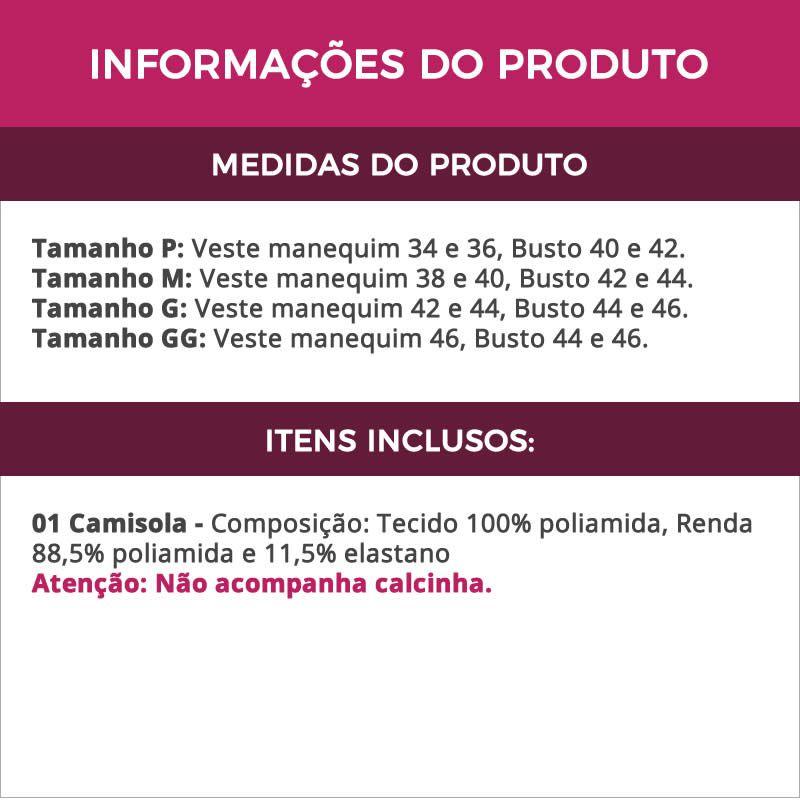 Camisola em Liganete e Renda Alças Reguláveis Copacabana Vermelha Verde ou Onça Verde - YMC134