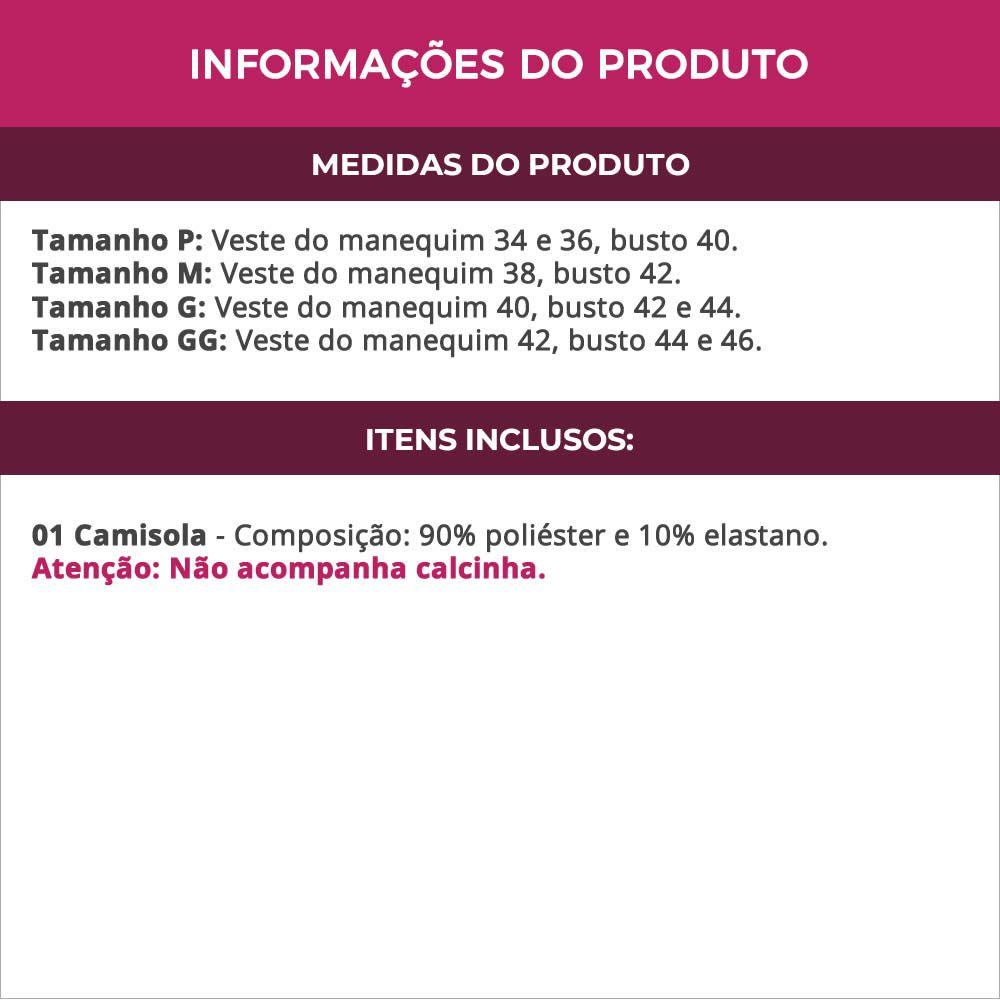 Camisola em Microfibra e Renda com Manguinha - DR307
