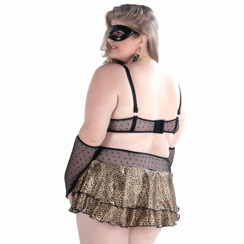 Fantasia Erótica Plus Size com Bojo e Máscara Devassa - GVP206