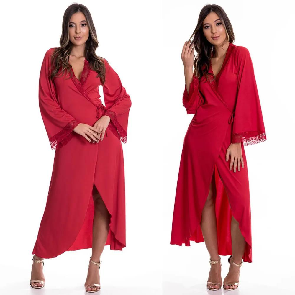 Camisola Longa Com Robe em Microfibra e Renda - ES214-219