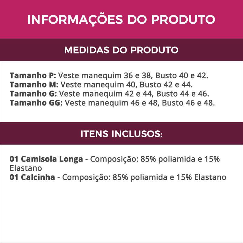 Camisola Longa em Cetim com Calcinha - GV683