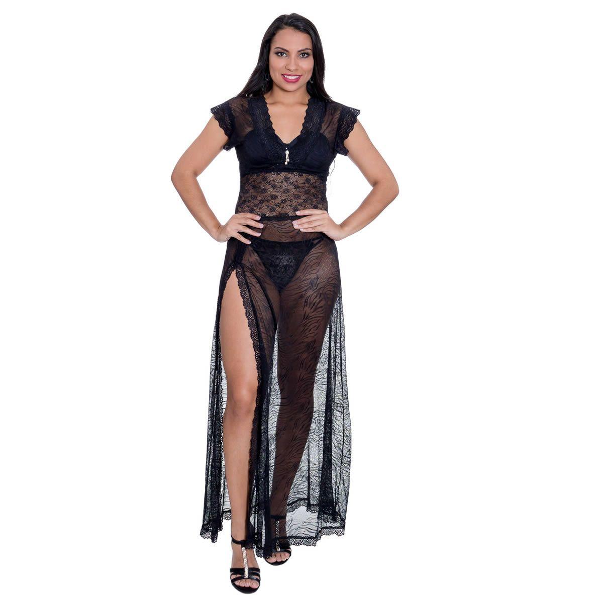 Camisola Longa Preta em Renda Transparente  com Calcinha Magic - YMC02