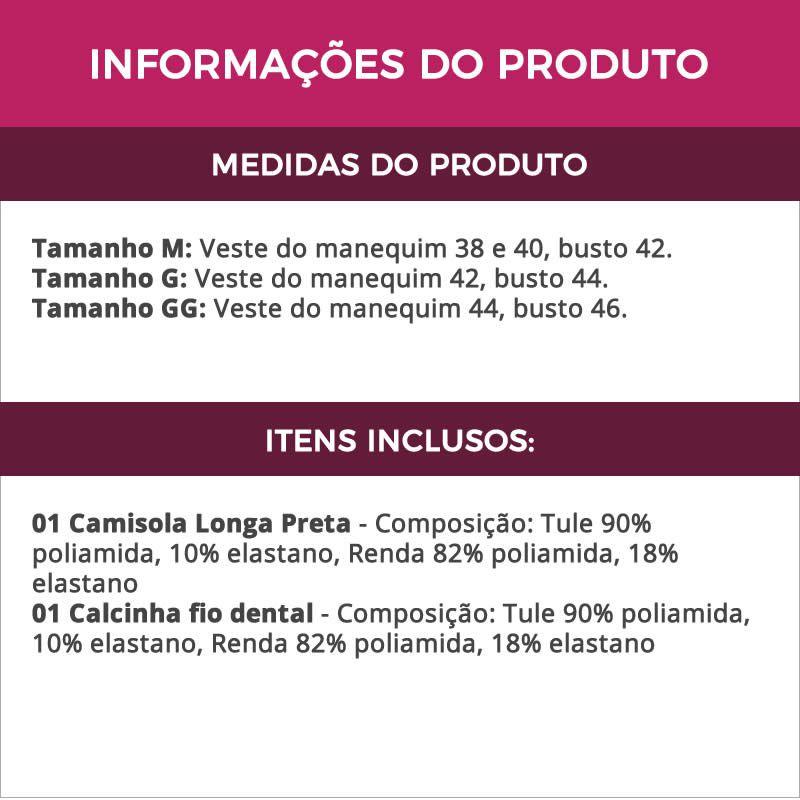 Camisola Longa Preta Transparente em Renda e Tule com Bojo - MS2280