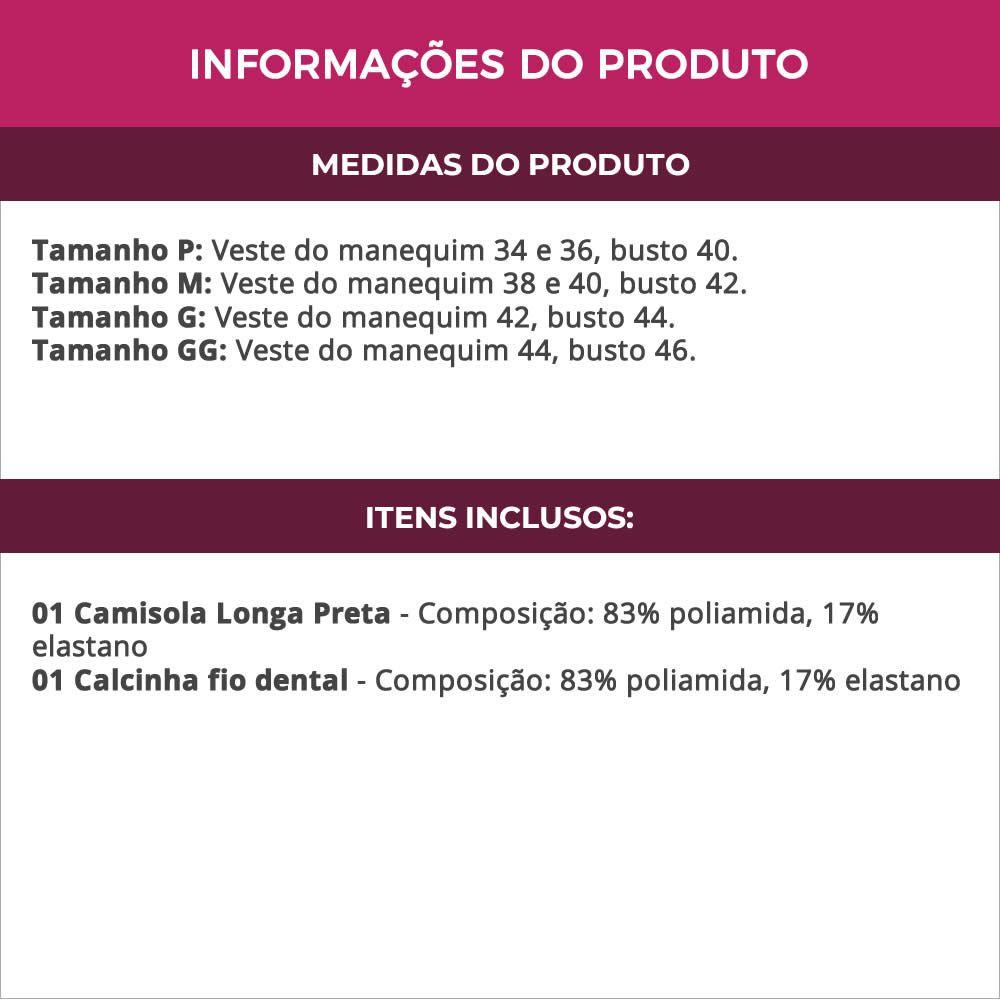 Camisola Longa Transparente em Tule e Renda com Bojo Preta - ES212