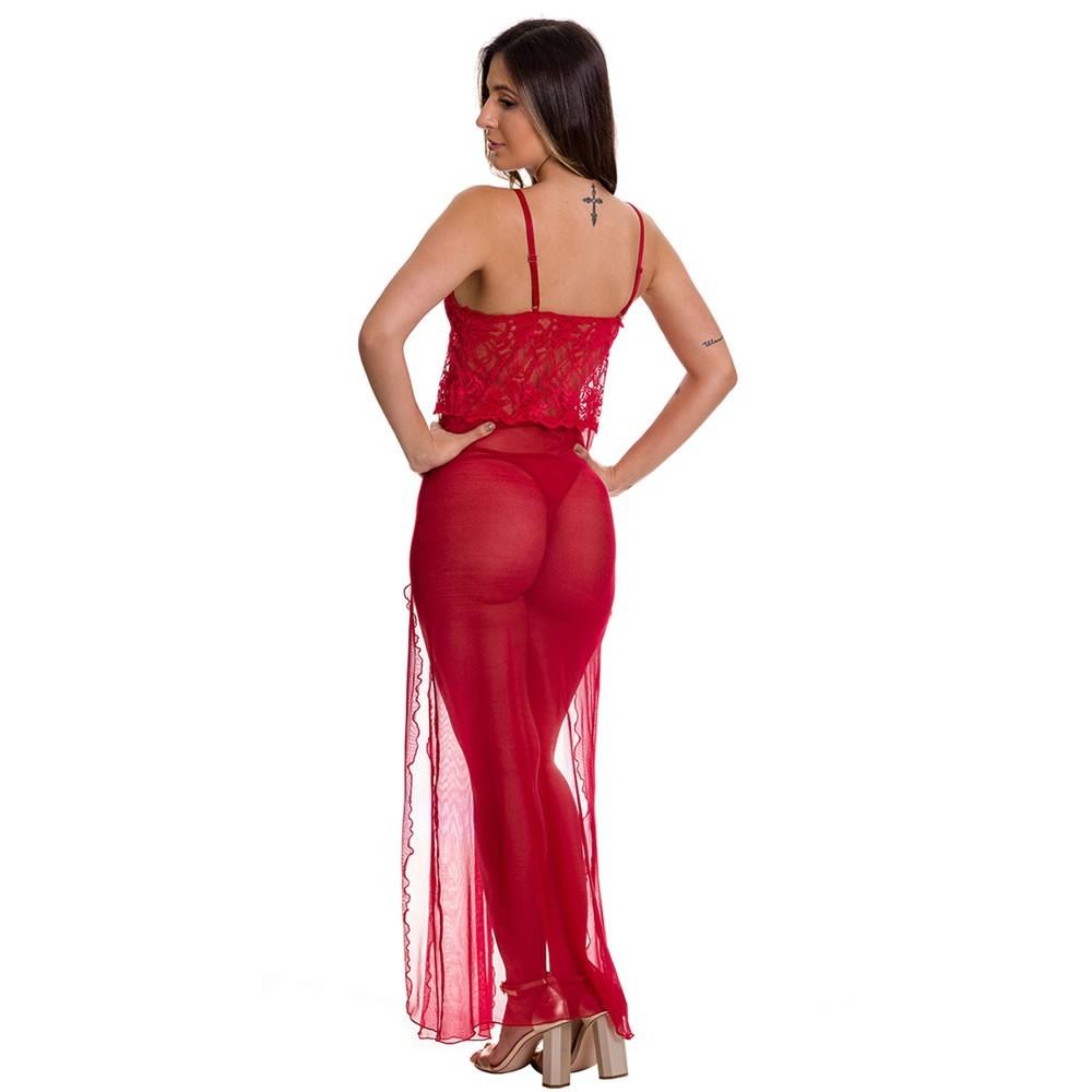 Camisola Longa Transparente em Tule e Renda com Bojo Vermelha - ES212