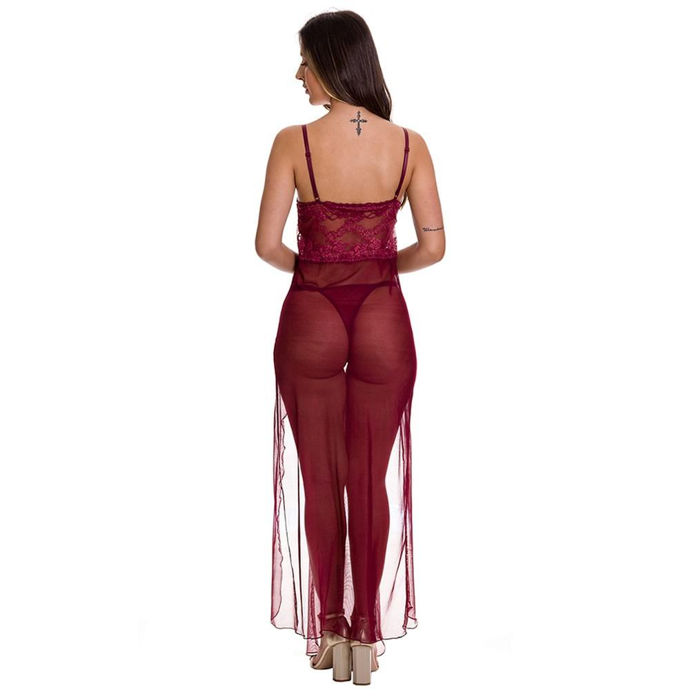 Camisola Longa Transparente em Tule e Renda com Bojo Vinho - ES212
