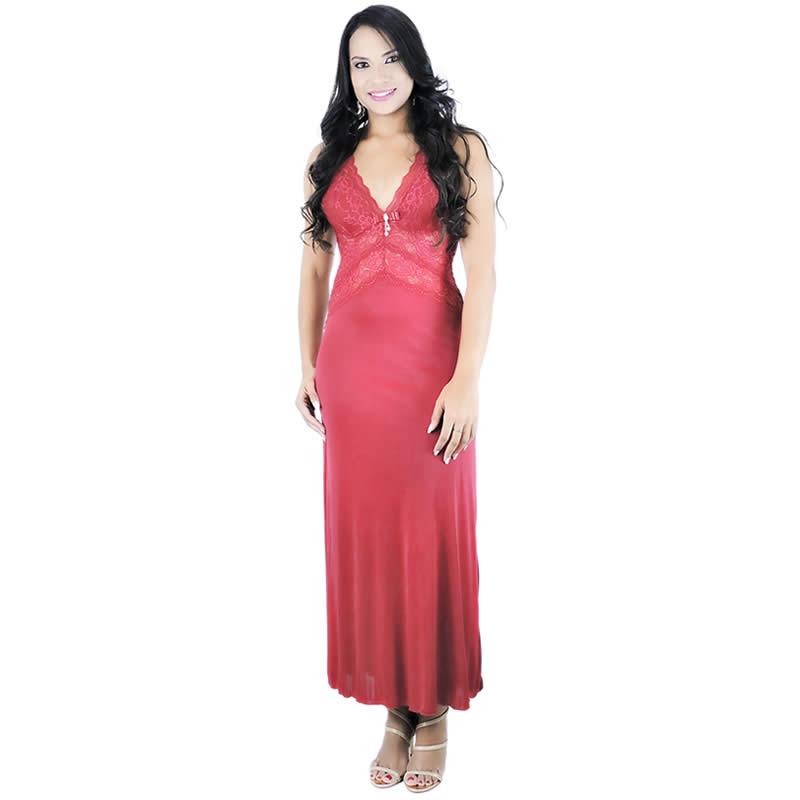 Camisola Longa Vermelha em Liganete e Renda com Calcinha Sereia - YMSR2