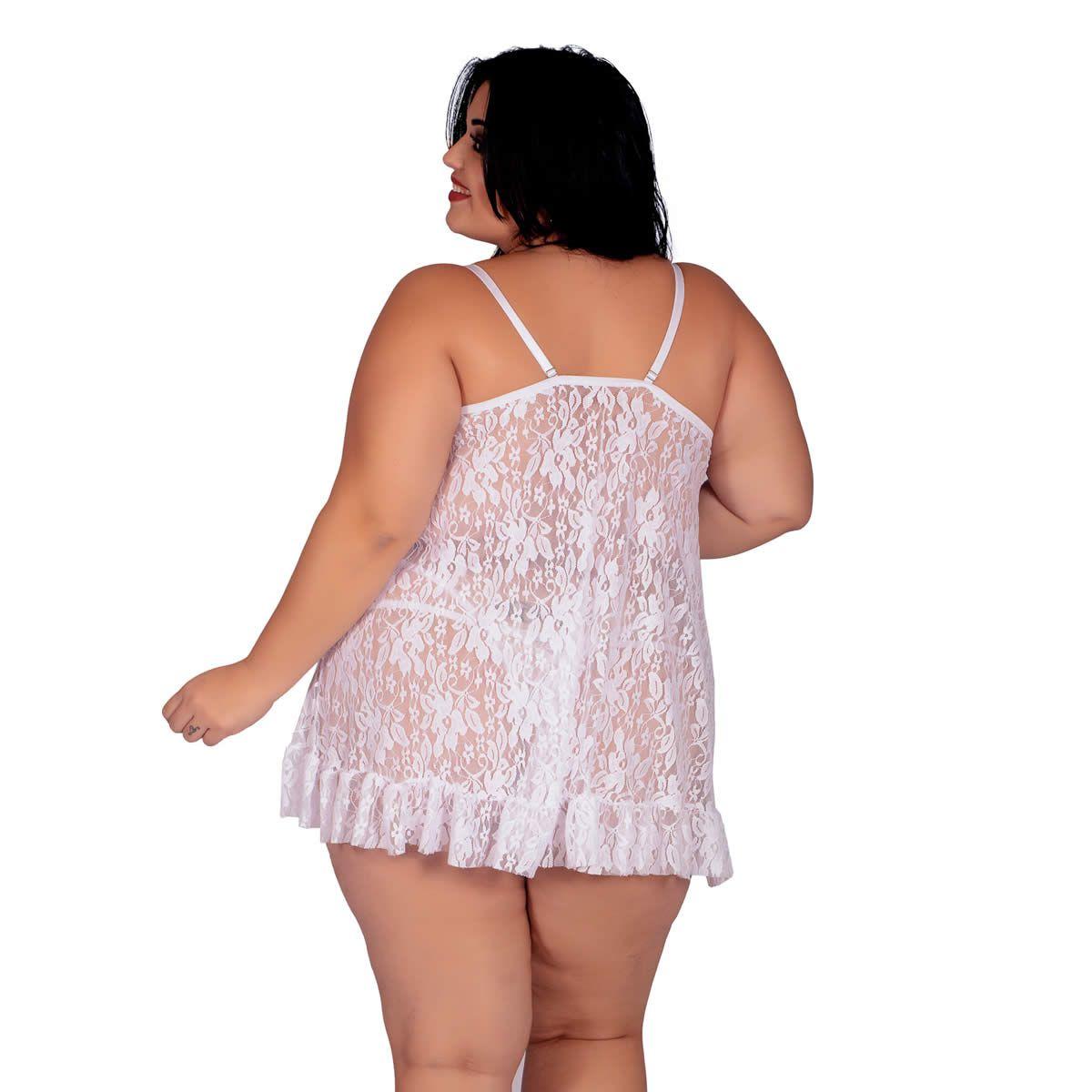 Camisola Plus Size Branca em Renda Transparente Naty - EK5026