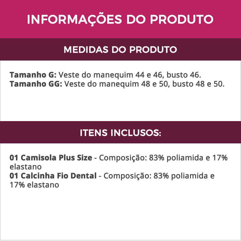 Camisola Plus Size em Microfibra e Renda com Tanga Chloe - EK5028