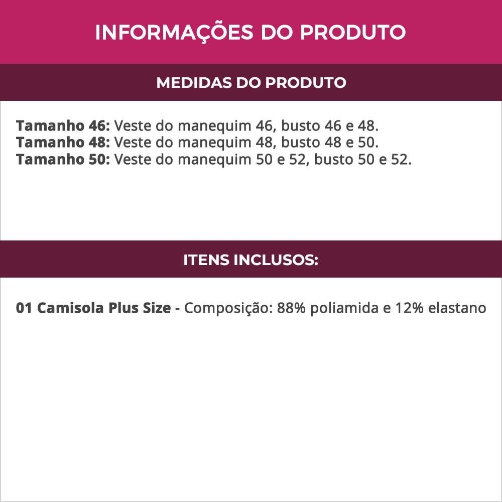 Camisola Plus Size em  Microfibra e Renda Rosê - TV5026