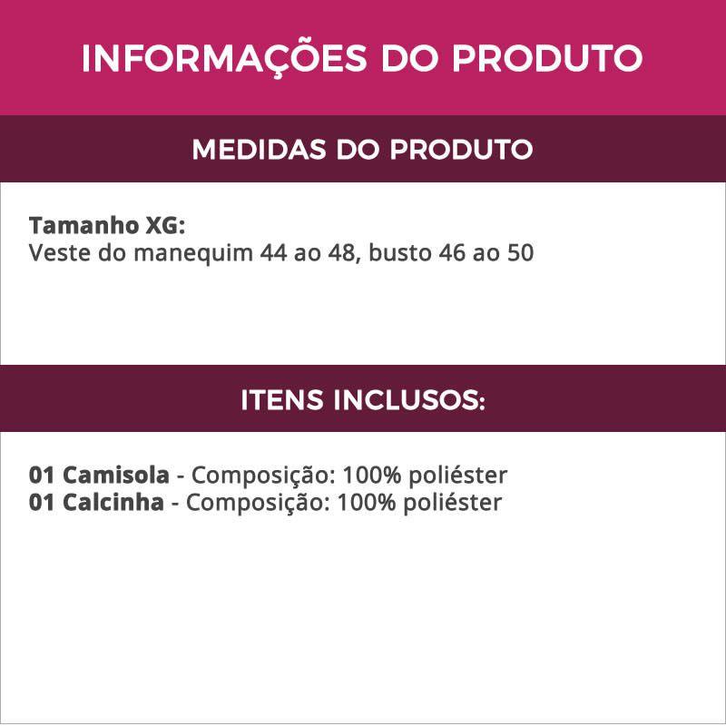 Camisola Plus Size em Renda e Tule com Bojo e Calcinha Graziela - MS1824