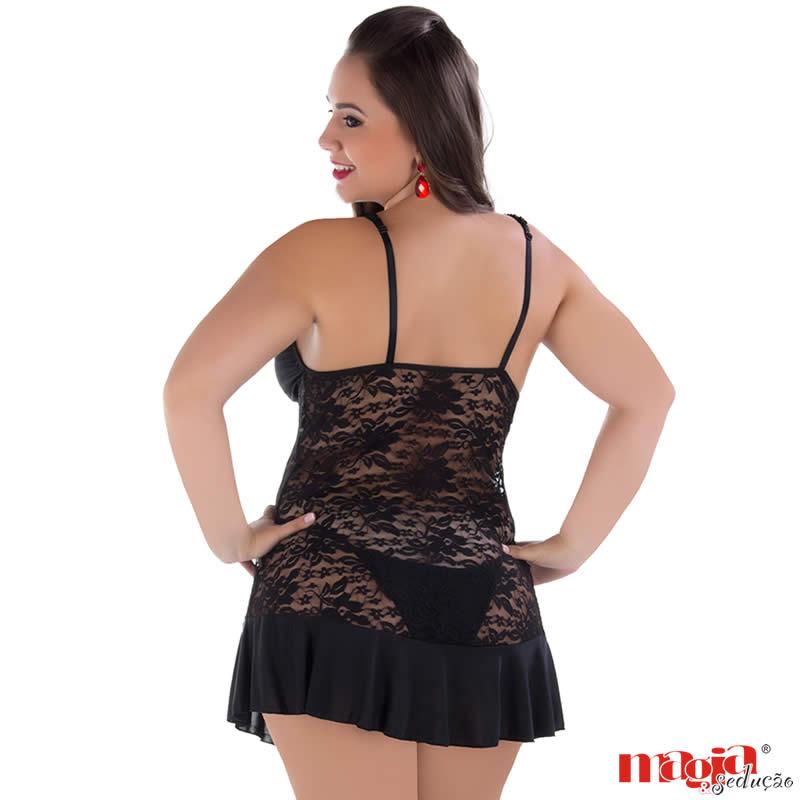 Camisola Plus Size Preta em Renda e Liganete com Calcinha Débora - MS1879