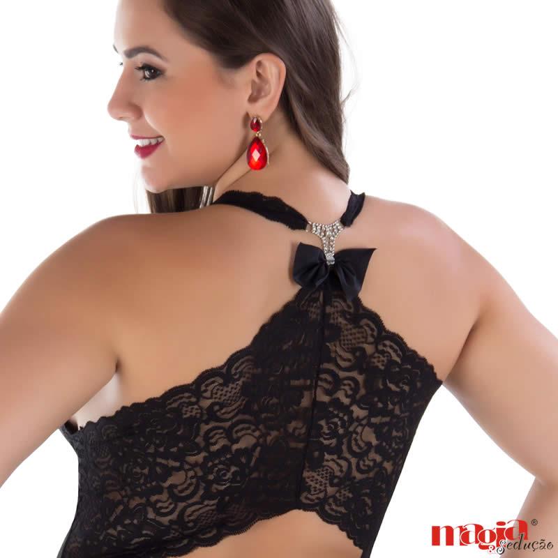 Camisola Plus Size Preta ou Vermelha Transparente em Tule e Renda com Bojo Larissa - MS1888