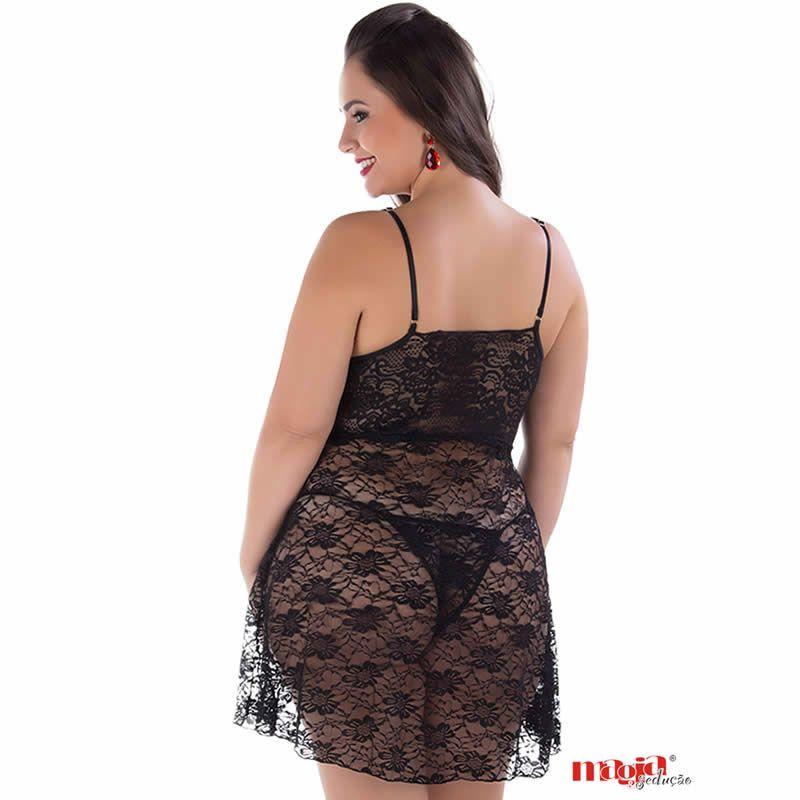 Camisola Plus Size Preta Transparente em Renda com Bojo e Calcinha Anita - MS1880