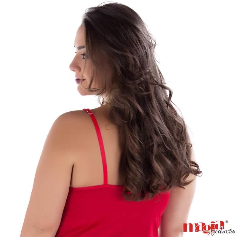 Camisola Plus Size Vermelha em liganete e Renda com Tanga Denise - MS1883