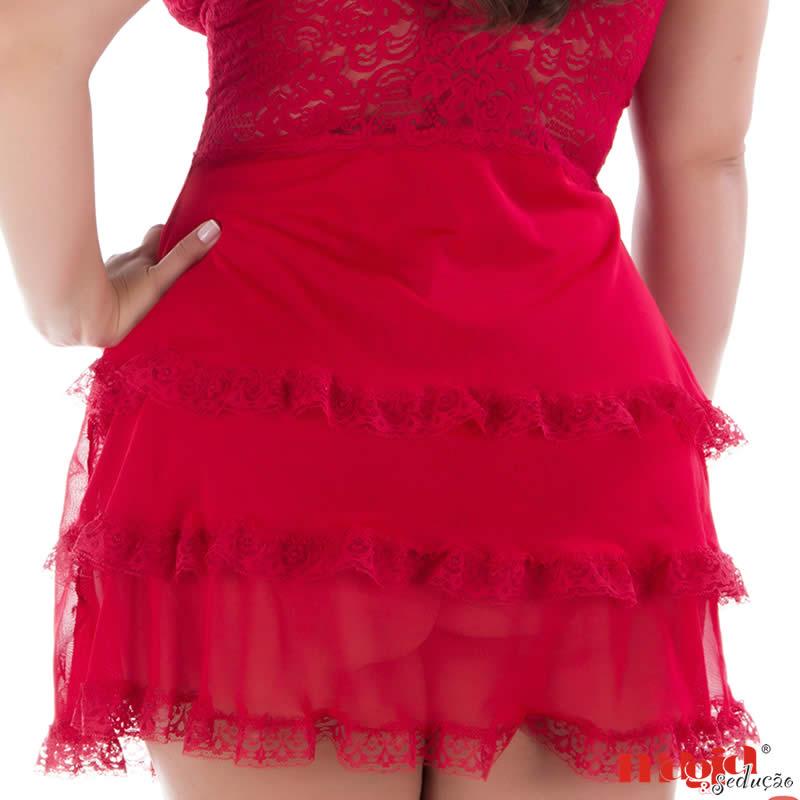 Camisola Plus Size Vermelha ou Azul em Renda e Tule com Calcinha Vivi - MS1886