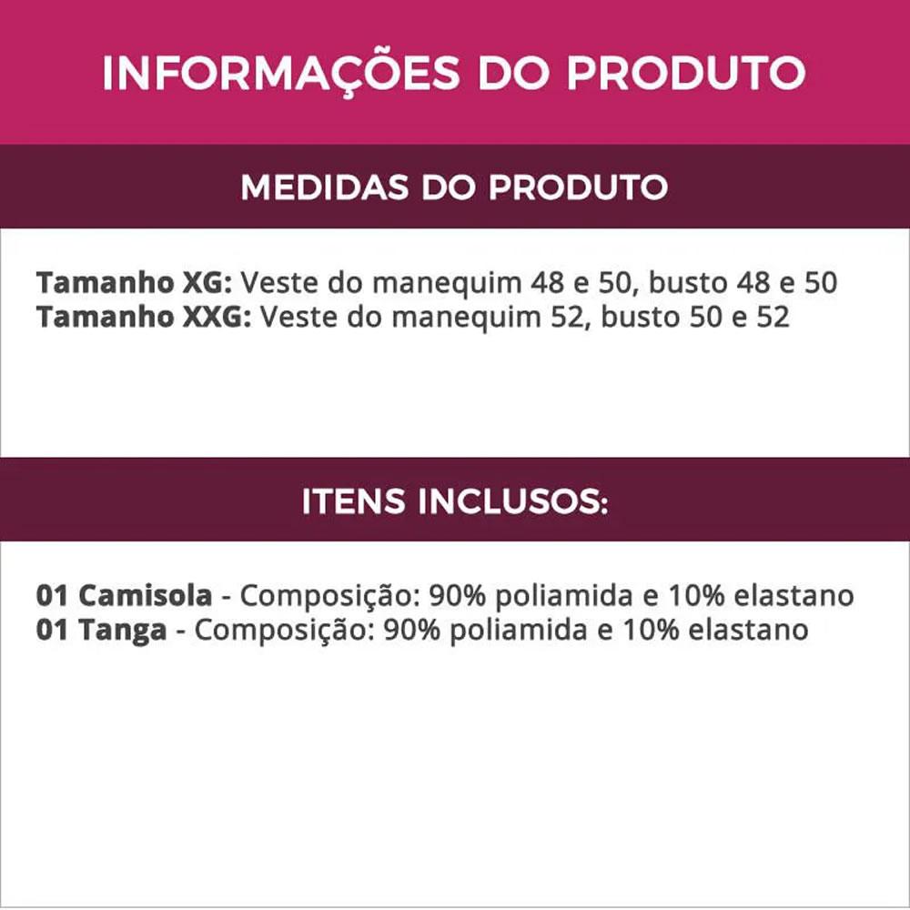 Camisola Plus Size em Renda e Tule com Calcinha - MS1886