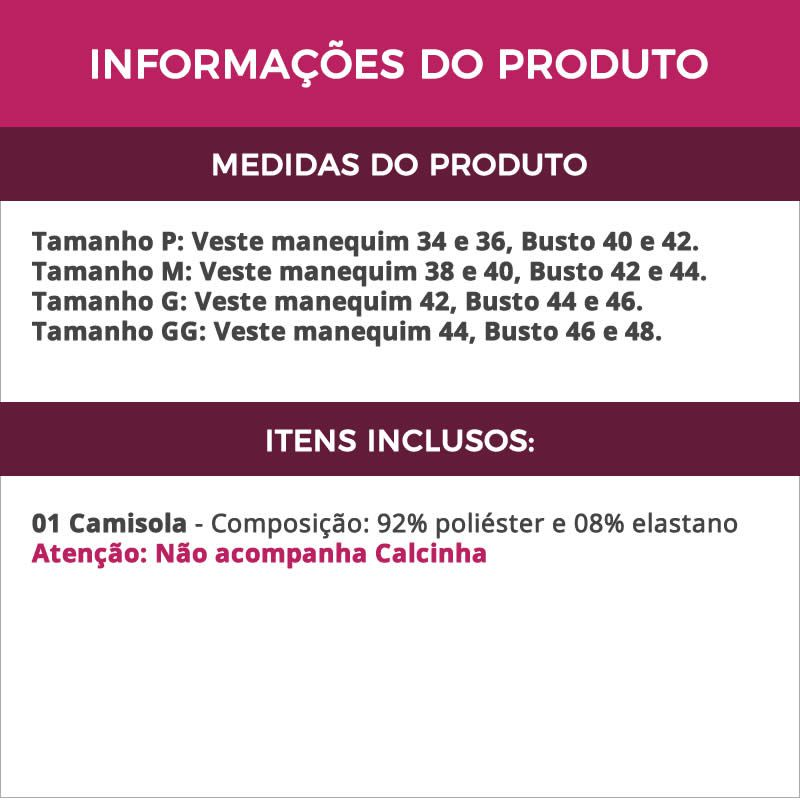 Camisola Preta em Microfibra e Renda Marcelle - ES204