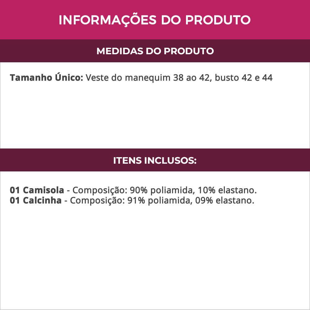Camisola Preta Frente Única Decotada nas Costas com Calcinha Bel - MS365