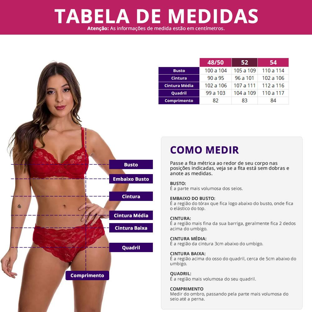 Camisola Preta Plus Size em Microfibra e Renda Carol - MS1885
