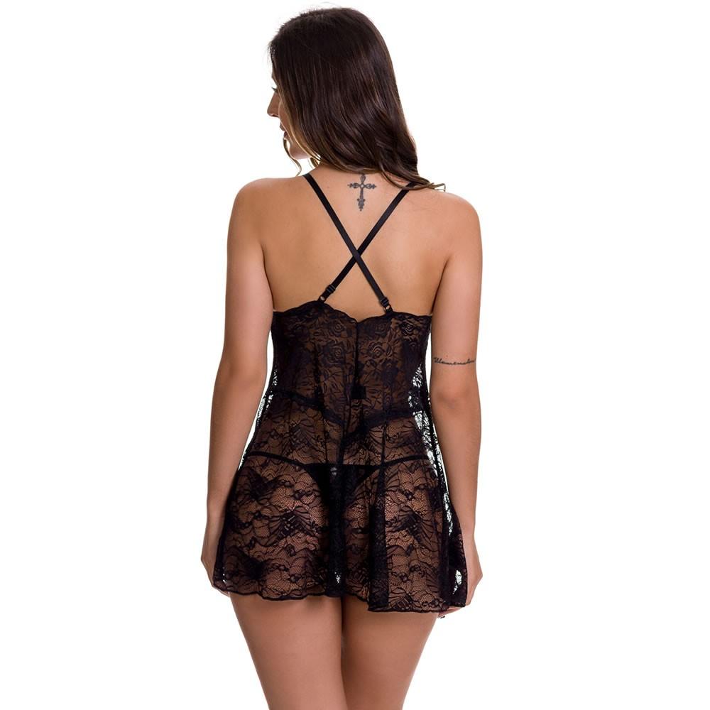 Camisola Preta Transparente em Renda com Calcinha Vivi - EK5023