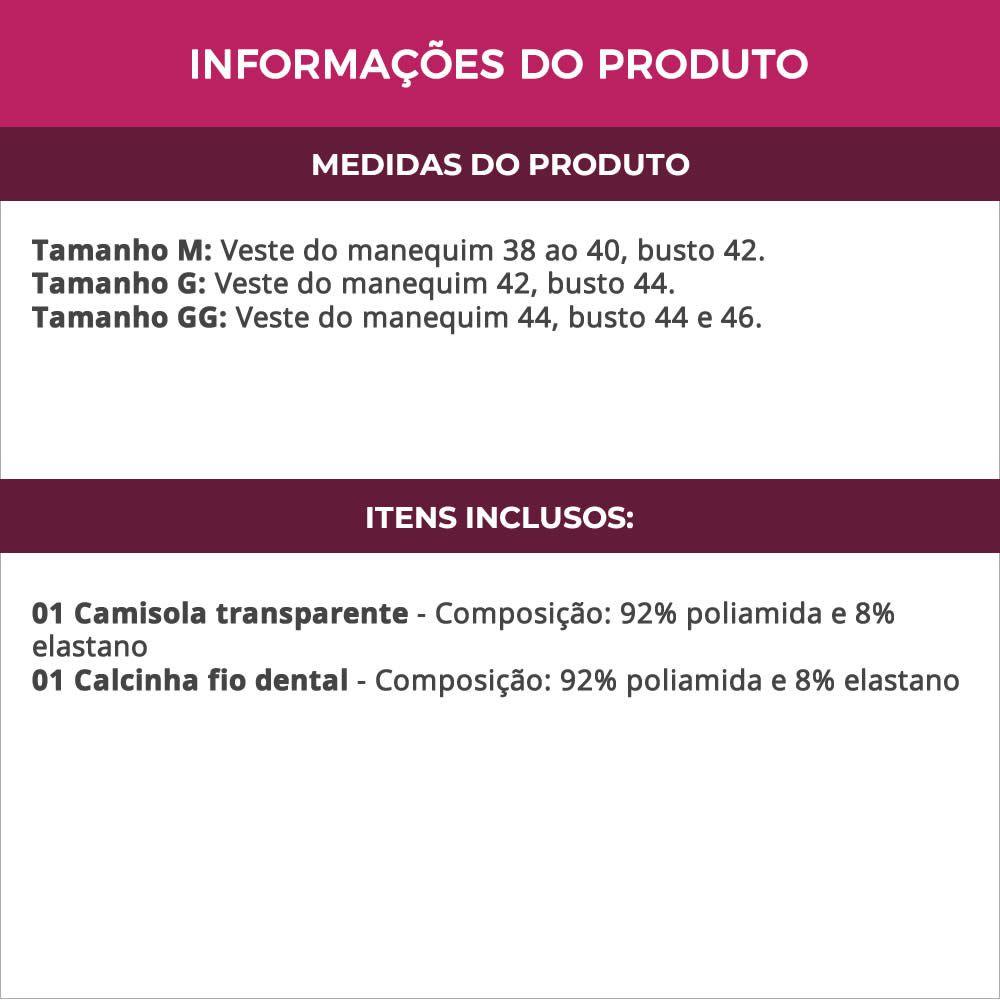 Camisola Preta Transparente em Renda e Tule com Bojo Graziela - MS1717
