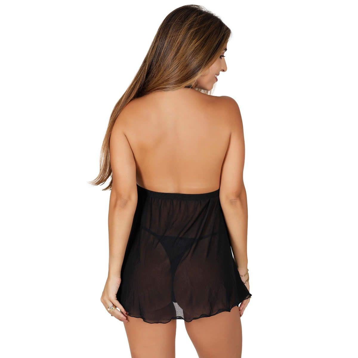Camisola Preta Transparente em Tule e Renda Bela - GL374